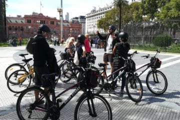 Stop at Plaza de Mayo during BA South Bike Tour in Buenos Aires