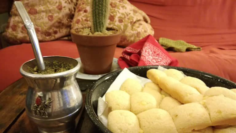 Traditional Mate drink and chipacitos, traditional cheese bread snack