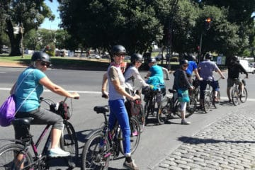 Group waiting during a Bike Tour