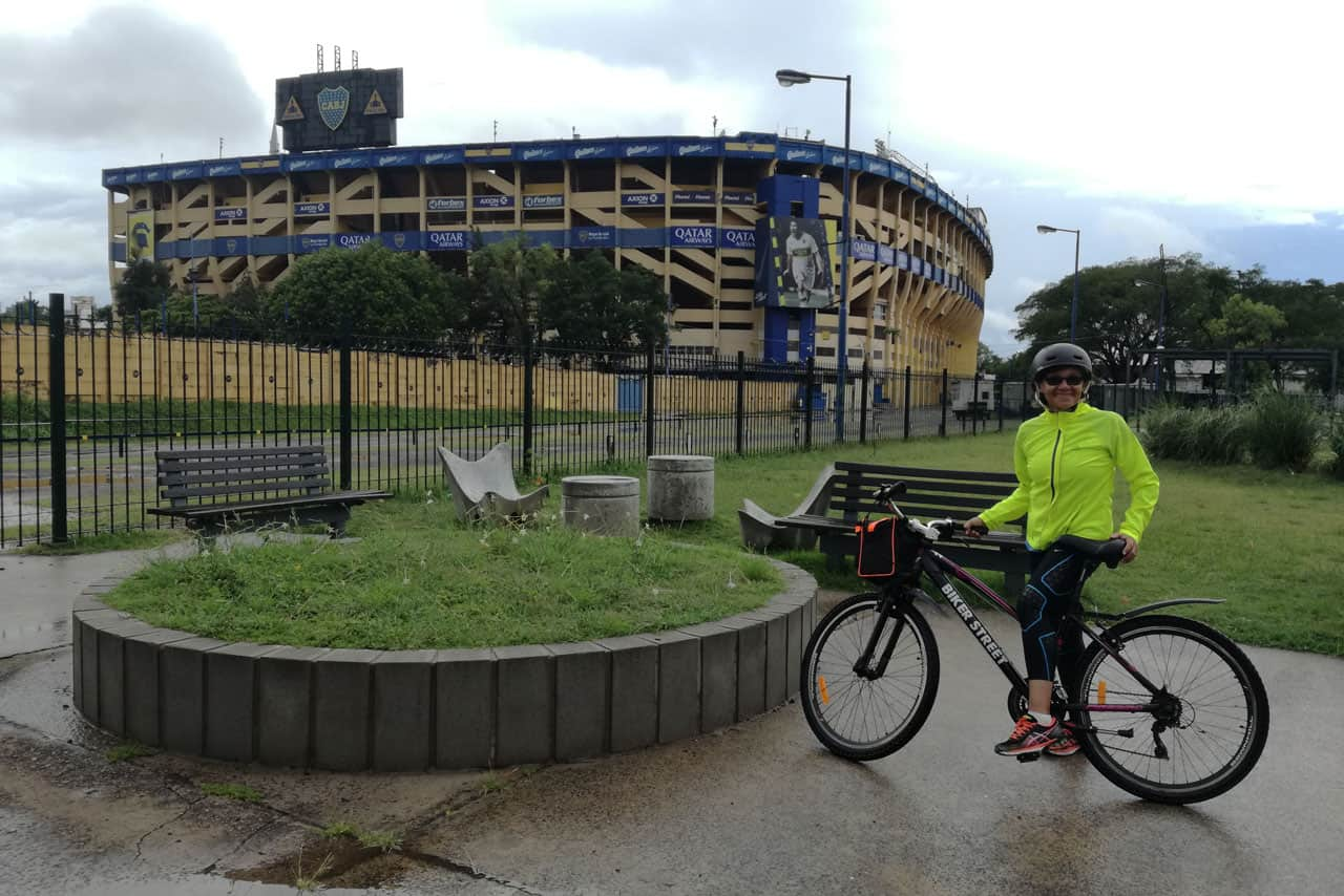 Posing in front of Boca Juniors Stadium during a Bike Tour