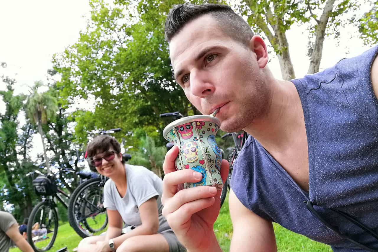 Tasting Mate Drink at Parque Lezama