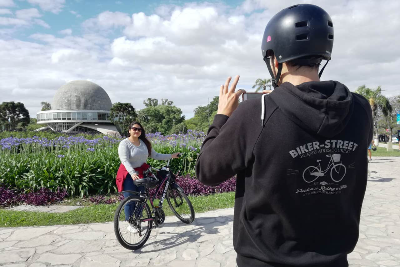 Taking a picture at Planetario during a Private Bike Tour