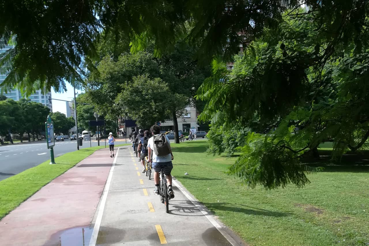 Riding along Alcorta Av. during a Bike Tour