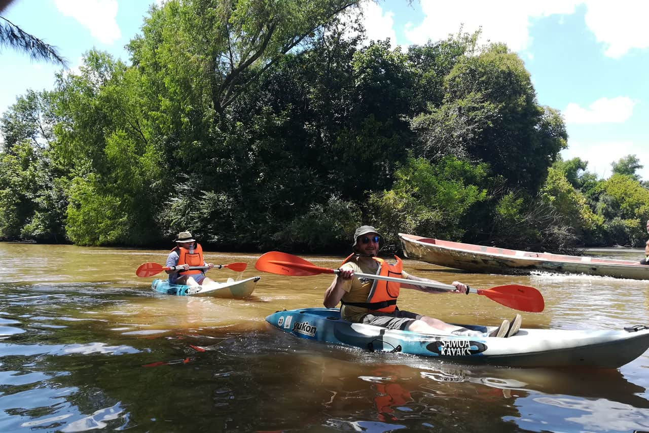 Rowing on a Kayak at Tigre Delta in Buenos Aires