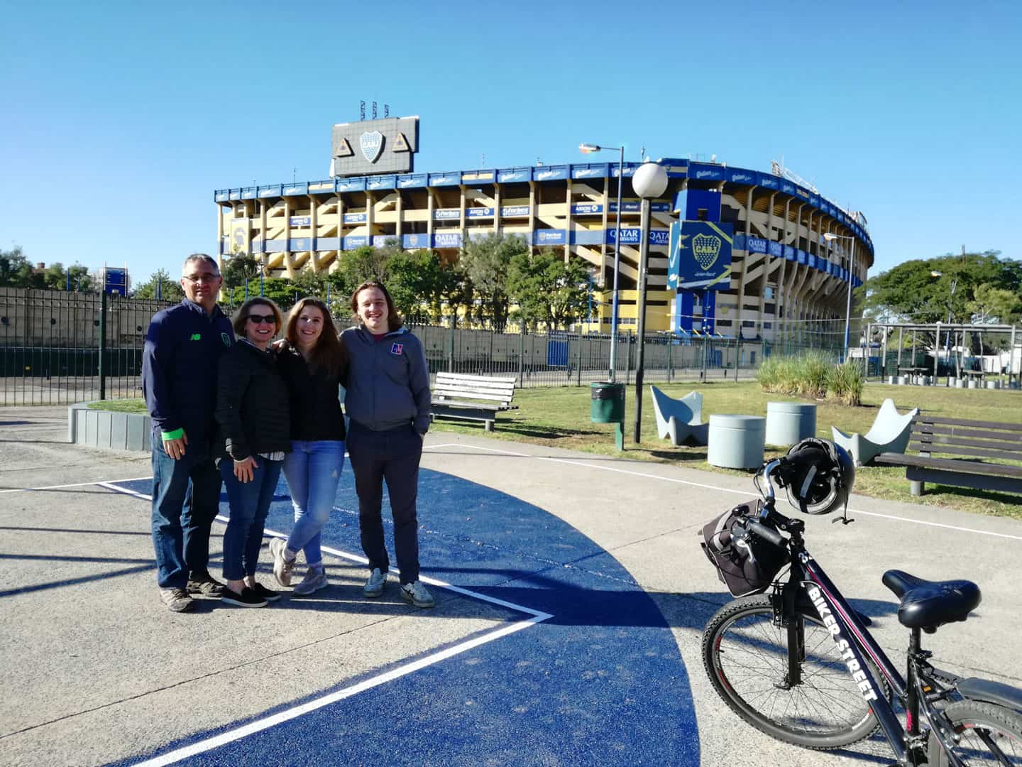 Stop at Boca Juniors Stadium, La Bombonera during bike tour