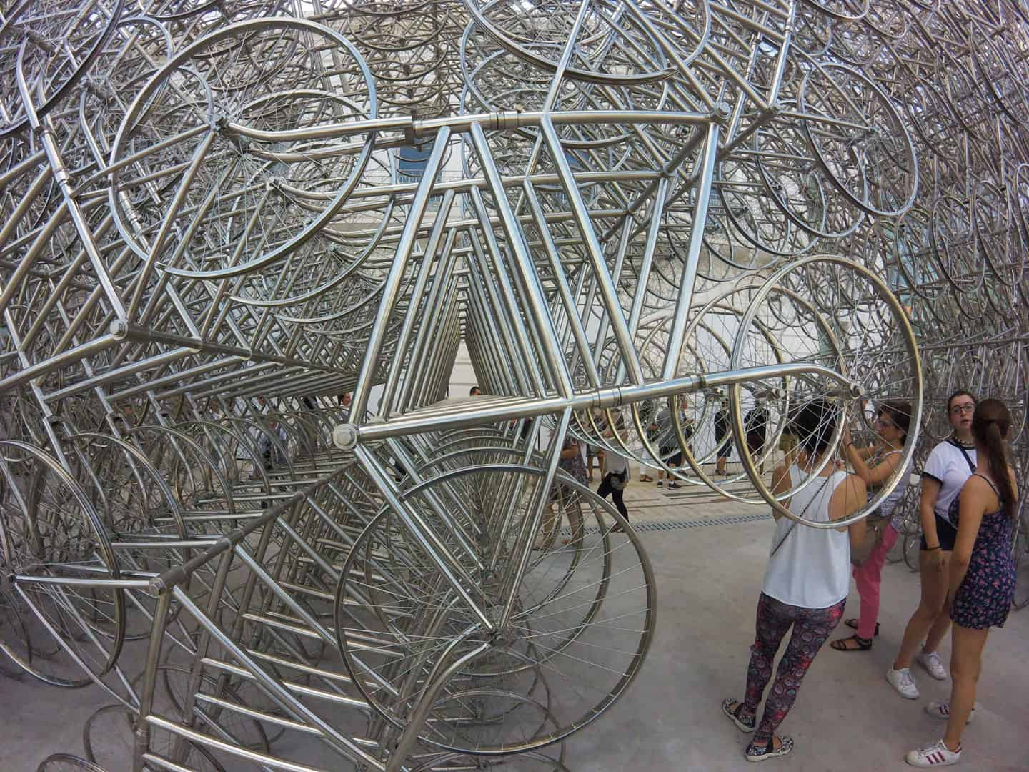 Ai Weiwei Bike Sculpture at Fundacion Proa in Caminito Area - Close Up Shot