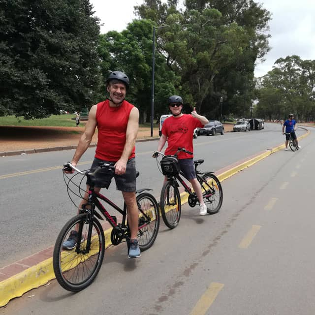 Bikers at Bosques de Palermo during City Tour