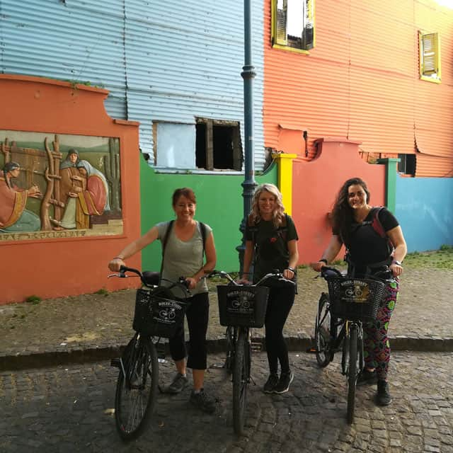 Bikers at Caminito during Buenos Aires City Tour