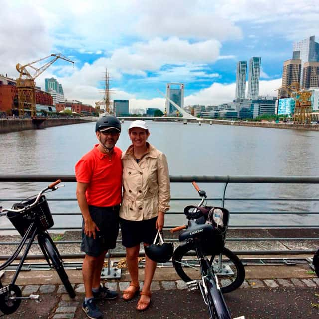 Posing with bikes at Puerto Madero Women's Bridge by Santiago Calatrava