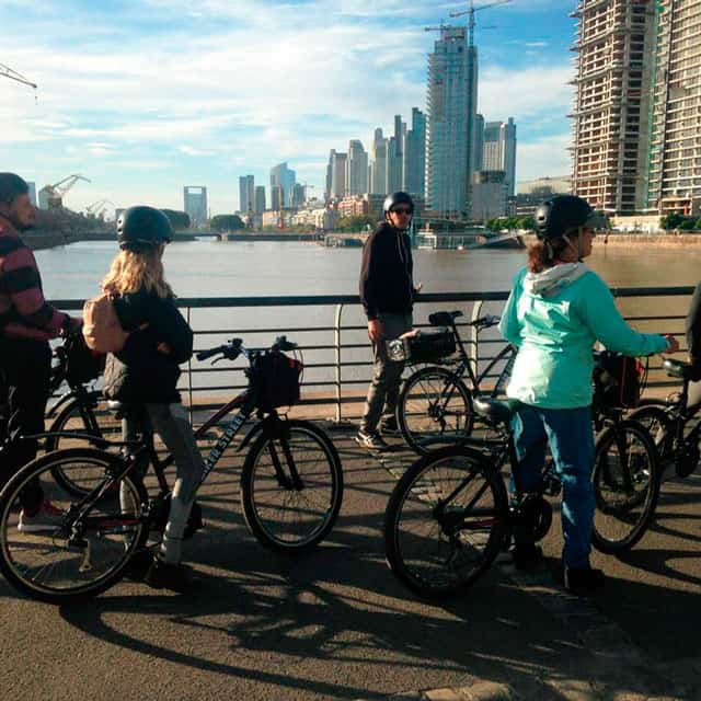 Stop at Puerto Madero during BA South Bike Tour