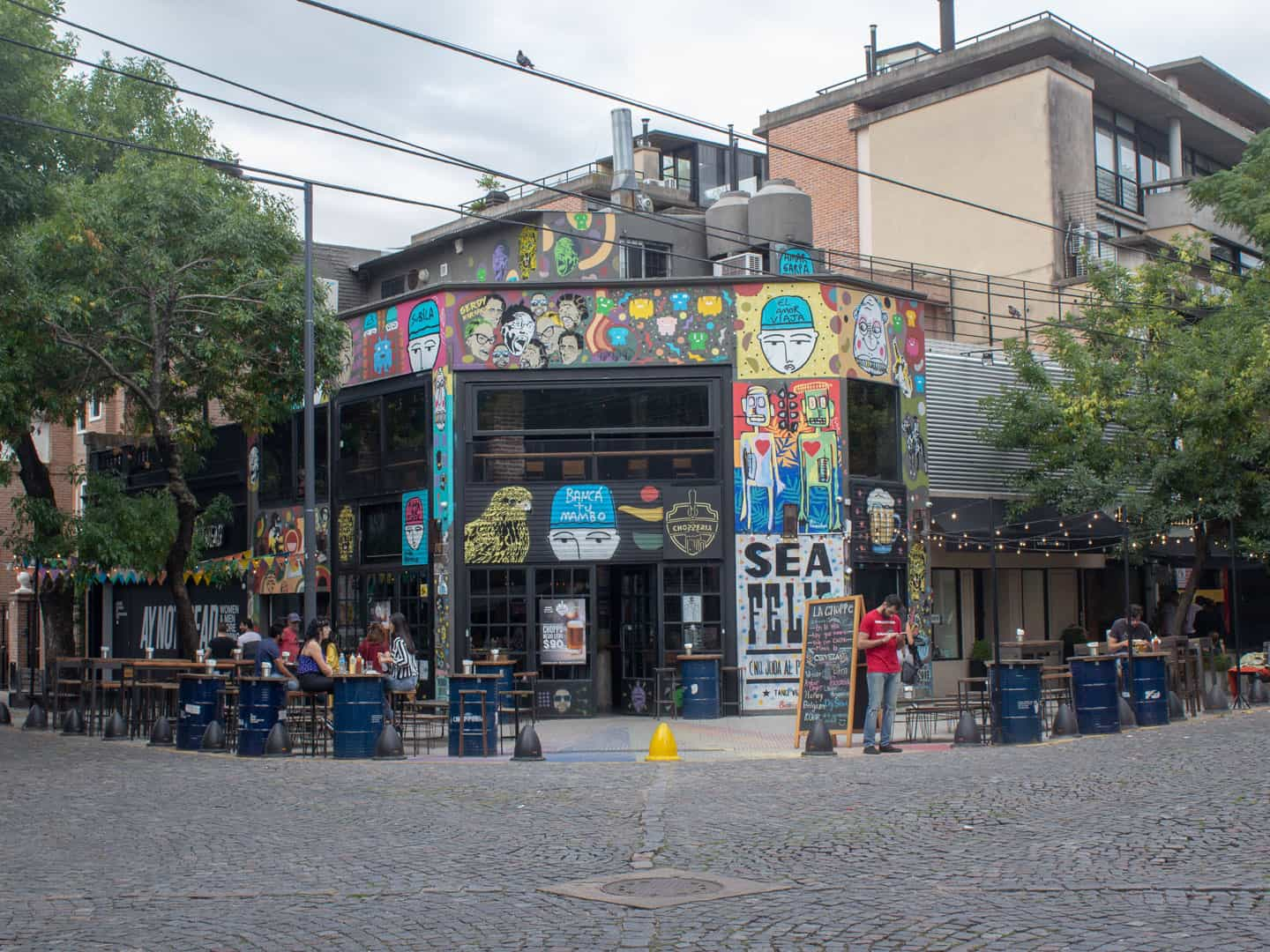 Street art on a bar facede in Palermo, Buenos Aires
