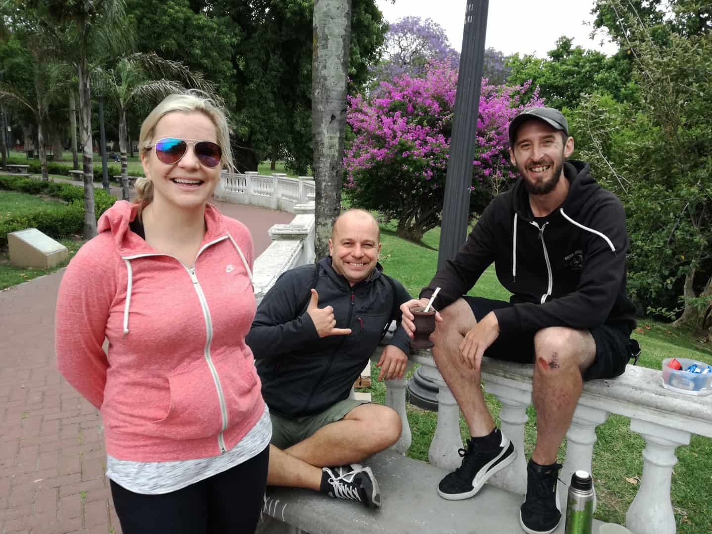 Mate Drinking Stop at Parque Lezama during BA South Bike Tour in Buenos Aires