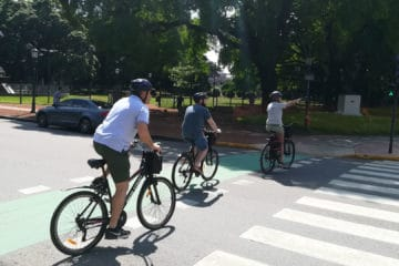 Crossing the Street During Bike Tour in Buenos Aires