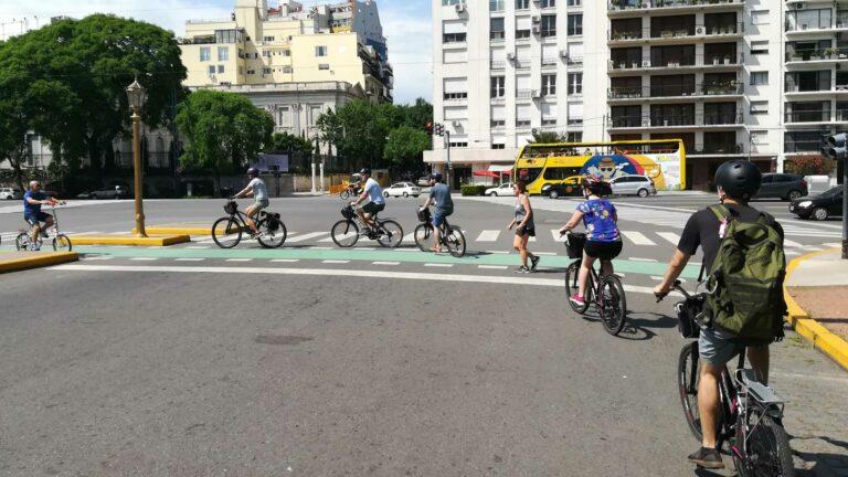 Group following Bike Tour Leader Gilda in Recoleta