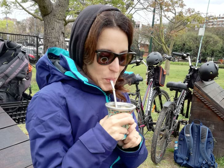 Tasting mate during a bike tour in Buenos Aires
